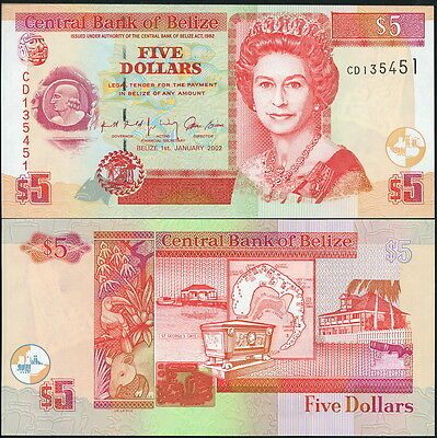 LOVELY QEII BELIZE $5 NOTE P-61b CIRCA 2002- CRISP UNC!