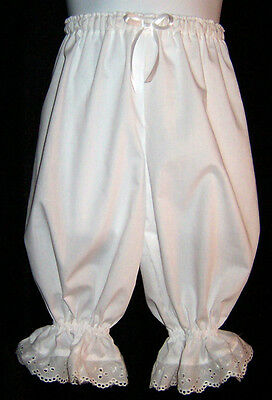 Boutique Knee length Bloomers Pantaloons Eyelet trim white Custom Girls sz 2-8