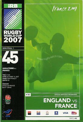 ENGLAND v FRANCE RUGBY WORLD CUP 2007 SEMI-FINAL PROG