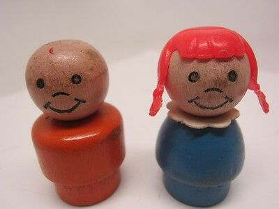 Fisher Price vintage LITTLE PEOPLE all wood Girl & Man