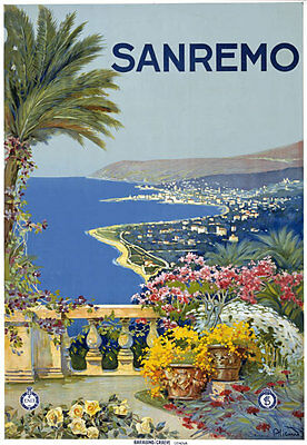 T12 Vintage 1920 Italy San Remo Sanremo Italian Travel Poster A1 A2 A3