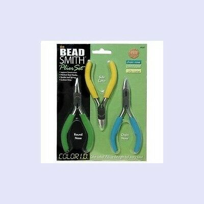 Jewelry PLIER Set ~ 3 Pliers Color-Coded: Round Nose/Chain Nose/Side Cutter