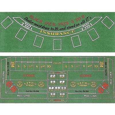 Blackjack and Craps 2 Sided Layout 36 x 72 inch
