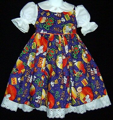 Peanuts Snoopy BOO! Halloween Pinafore Dress Girls Custom sizes 2 to 6X