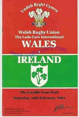 WALES v IRELAND 16 FEB 1991 RUGBY PROGRAMME WITH COA