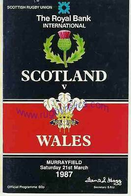 SCOTLAND v WALES 21 MARCH 1987 RUGBY PROGRAMME WITH COA