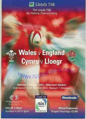 WALES v ENGLAND 03 FEB 2001 RUGBY PROGRAMME WITH COA