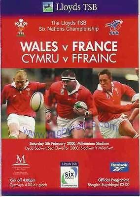 WALES v FRANCE 05 FEB 2000 RUGBY PROGRAMME WITH COA