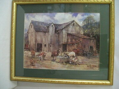 SIGNED LESLIE COPE 1993 BARN WITH HORSES AND COWS PRINT #D883