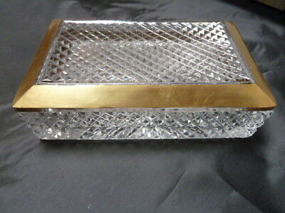 Heavy Cut Crytal Box With 24 K Gold Rim Lid   Very Nice  6.5 X 4 Inches