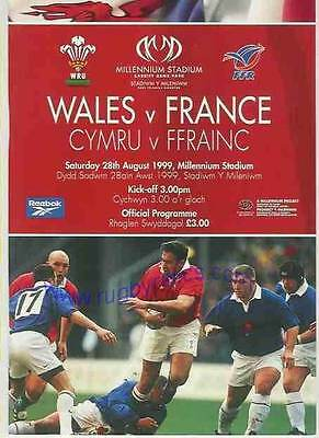 WALES v FRANCE 28 AUG 1999 RUGBY PROGRAMME WITH COA