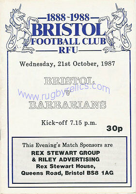 BRISTOL v BARBARIANS 1987 RUGBY PROGRAMME CENTENARY FIXTURE