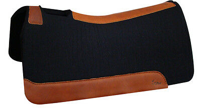 "7/8"" BLACK Horse Contour Wool Felt Saddle Pad,30x30 from 5 Star Equine Products"