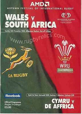 WALES v SOUTH AFRICA 26 NOV 2000 RUGBY PROGRAMME WITH COA