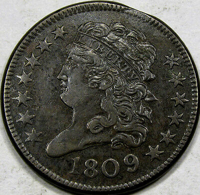 1809 Classic Head Half Cent... AU+BN Neat Coin! Sm. Planchet Clip at 1:00 Obv.!!