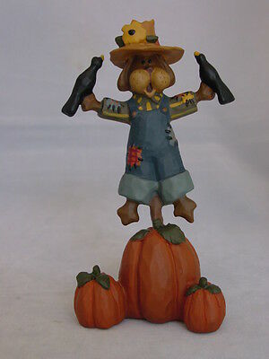Puppy Dog Scarecrow & Crow Figurine Blossom Bucket 106-81981 NEW