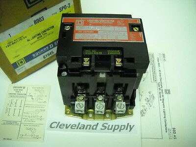 Square D 8903 Sp0-2 Ac Lighting Contactor 60A 3 Pole Open Type   New In Box