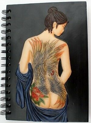 NAKED LADY WITH AMAZING TATTOO DESIGN JOURNAL / DIARY / NOTEBOOK / JOTTER New