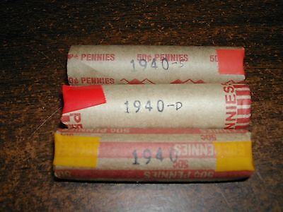1940-Pds Lincoln Wheat Cent Roll Set, 3 Solid Date Penny Rolls, 150 Coins
