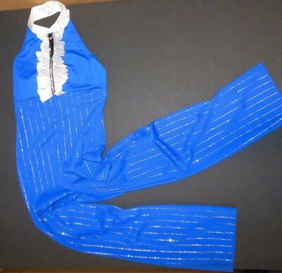 NWT STRIPED ROYAL BLUE TAP DANCE JUMPSUIT CHild sizes COLLARED Tuxedo Style