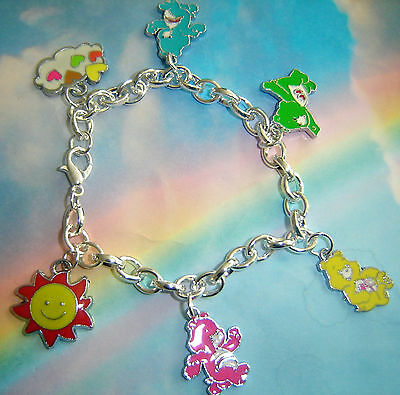 Care Bears Themed Charms Bracelet Silver Rainbow Colours Sunshine In Gift Bag
