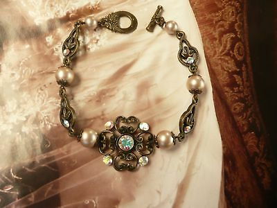 FRENCH LACE Pearl Vintage Crystal Cream Shabby Handmade Antique Bronze Bracelet