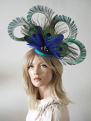 4 Sword Curled Peacock Cluster w/ Crystals & Pearls Fascinator Blue Green Ascot