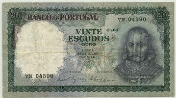 Attractive Portugal 20 Escudos Banknote P-163 F-Vf, 26.7.1960!
