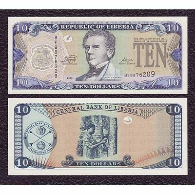 Liberia P-27e 2009 10 Dollars-Crisp Uncirculated
