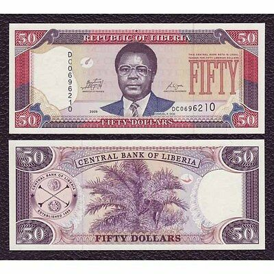 Liberia P-29d 2009 50 Dollars-Crisp Uncirculated