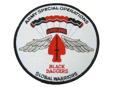 Army Airborne Special Ops Forces Sf Black Daggers Halo Parachute Demo Team Patch