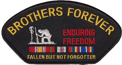 Brothers Forever Enduring Freedom Iron On Hat Patch  - USA MADE  -  FREE SHIP!