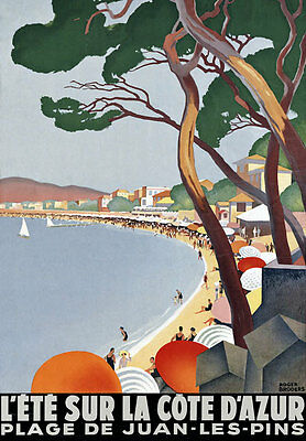 TT50 Vintage Cote D'Azur French Riviera Travel Poster A3/A2 Re-Print