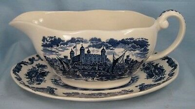 Vintage BLUE ROYAL HOMES OF BRITAIN GRAVY BOAT & UNDERPLATE Enoch Wedgwood (O)
