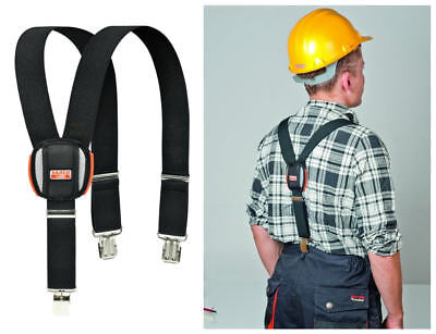 NEW Bahco Black Padded Adjustable Work Braces With Heavy Duty Trouser Clips