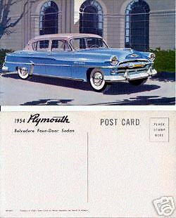 1954 Plymouth Belvedere Four-Door Sedan Advertising Postcard