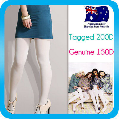 Pantyhose Stocking Hosiery Tights OPAQUE Large Size 150D *White