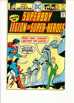 Superboy Starring The Legion Of Super-Heroes #214 (FN-)`76 Shooter/ Grell