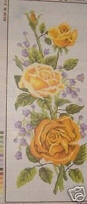 Yellow Roses Flower Panel Tapestry Needlepoint Canvas