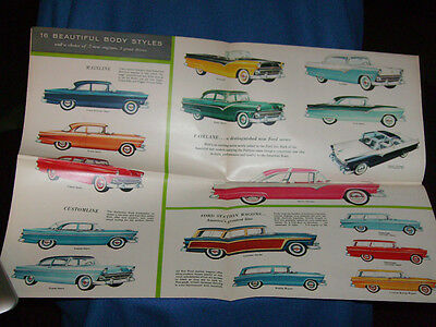1955 Auto Car Ford Town Sedan Sunliner Crown Victoria Station Wagon Brochure