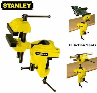 NEW Stanley 75mm Multi-Angle Swivel Hobby/Craft Bench Wood Vice/Clamp 1-83-069