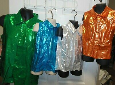 NWT Foil Spandex Sleeveless Snap Front Shirt 9 Color Choices Child/Adult Sizes
