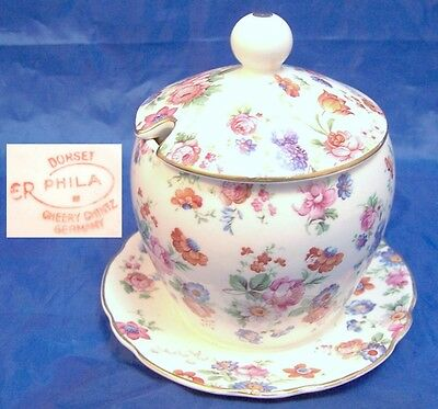 Dorset Cheery Chintz Erphila Germany 2 pc Covered Jam Pot