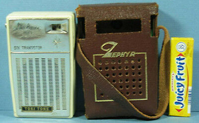 On Sale * Vintage Zephyr 6 Transistor Radio W/case Toki Tone Free Usa Ship Ad687