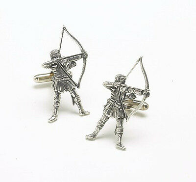 Handcrafted English Pewter Archer Cufflinks Archery Gift NEW in BOX  9444