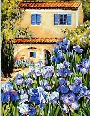 To the Iris Flowers Tapestry Needlepoint Canvas Royal Paris