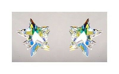 "10 Authentic SWAROVSKI CRYSTAL AB STAR PENDANTS 20mm (~3/4"") Aurora Borealis"