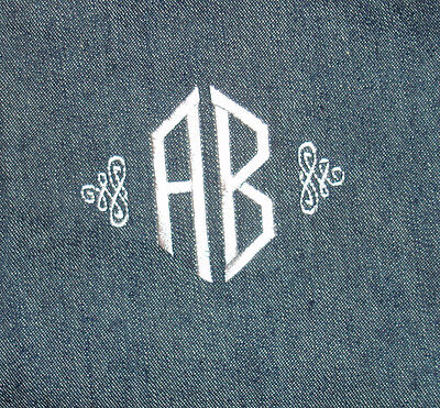 TWO Letter Monogram Embroidery - Single item