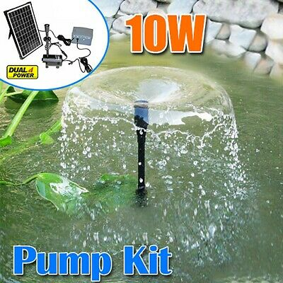 Solar Power Pool Fountain Water Feature Submersible Pump Kit w Timer/LED Pond