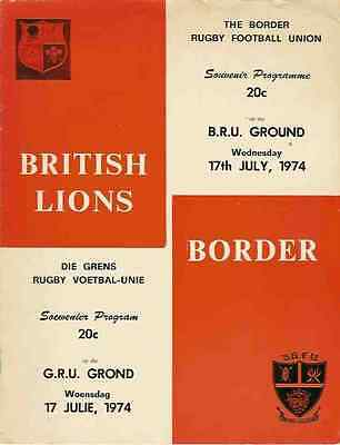 BRITISH LIONS 1974 v BORDER RUGBY PROGRAMME **RARE**